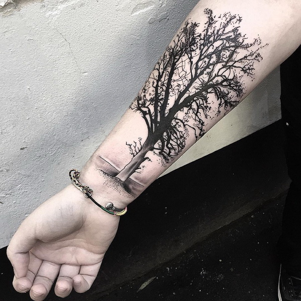 Tree Tattoo Design on Forearm.What a cool tattoo design idea!  Love it very much! This will be my next tattoo design. via https://forcreativejuice.com/awesome-forearm-tattoo-designs/