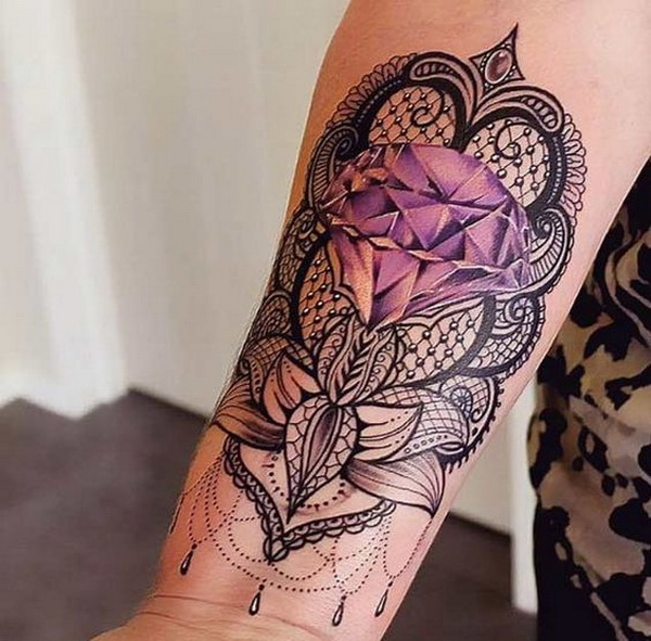 Lacework with Diamond Tattoo on Forearm.What a cool tattoo design idea!  Love it very much! This will be my next tattoo design. via https://forcreativejuice.com/awesome-forearm-tattoo-designs/