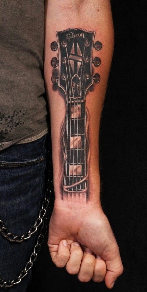 Guitar Tattoo Design on Forearm.What a cool tattoo design idea!  Love it very much! This will be my next tattoo design. via https://forcreativejuice.com/awesome-forearm-tattoo-designs/