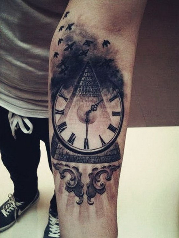 Vintage Clock Tattoo Design on Forearm.What a cool tattoo design idea!  Love it very much! This will be my next tattoo design. via https://forcreativejuice.com/awesome-forearm-tattoo-designs/