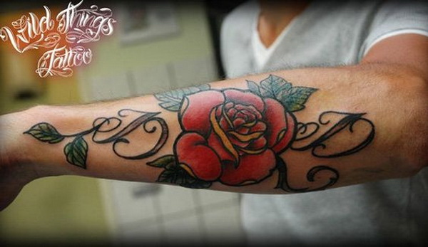 Lettering with Rose Forearm Tattoo.What a cool tattoo design idea!  Love it very much! This will be my next tattoo design. via https://forcreativejuice.com/awesome-forearm-tattoo-designs/