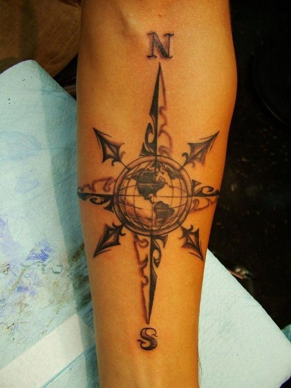 Cool Compass Tattoo On Forearm.What a cool tattoo design idea!  Love it very much! This will be my next tattoo design. via https://forcreativejuice.com/awesome-forearm-tattoo-designs/