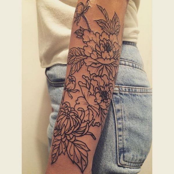 Peonies and Chrysanthemum Floral Forearm Tattoo.What a cool tattoo design idea!  Love it very much! This will be my next tattoo design. via https://forcreativejuice.com/awesome-forearm-tattoo-designs/