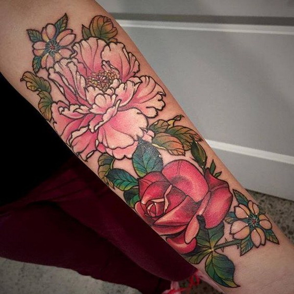 Peony and Rose Tattoo on the Forearm.What a cool tattoo design idea!  Love it very much! This will be my next tattoo design. via https://forcreativejuice.com/awesome-forearm-tattoo-designs/