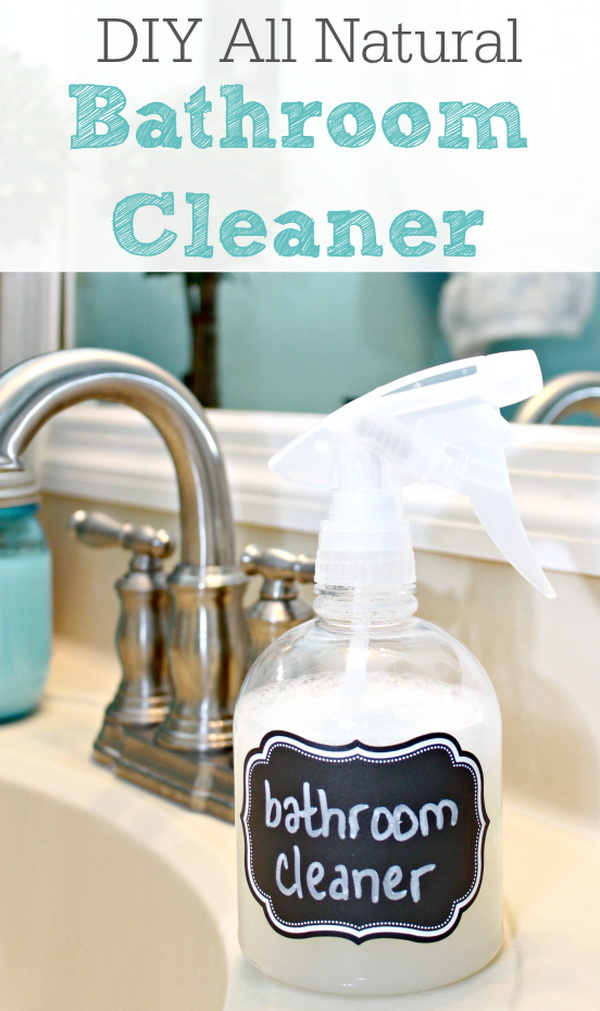Homemade All Natural Bathroom Cleaner. Making your own household products and save a ton of money on the essentials. Get the recipes from for creativejuice.com