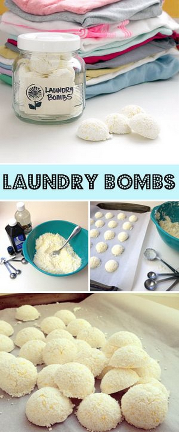 All in One Laundry Bombs. Making your own household products and save a ton of money on the essentials. Get the recipes from for creativejuice.com