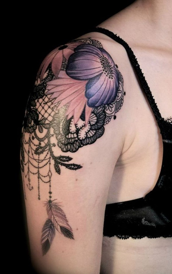 Flower Shoulder Tattoo Designs: 30+ Lace Tattoo Designs For Women