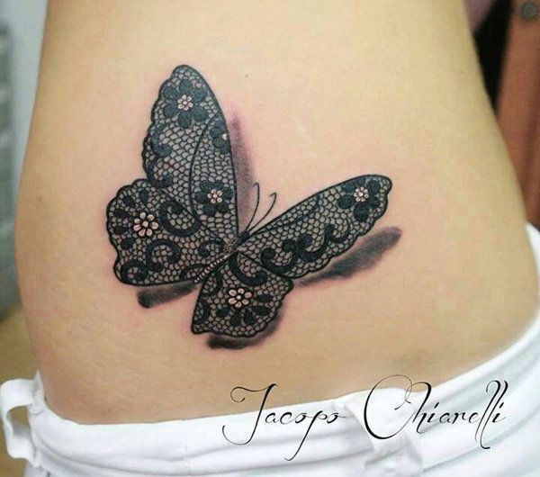 Butterfly and Lace Tattoo Design.