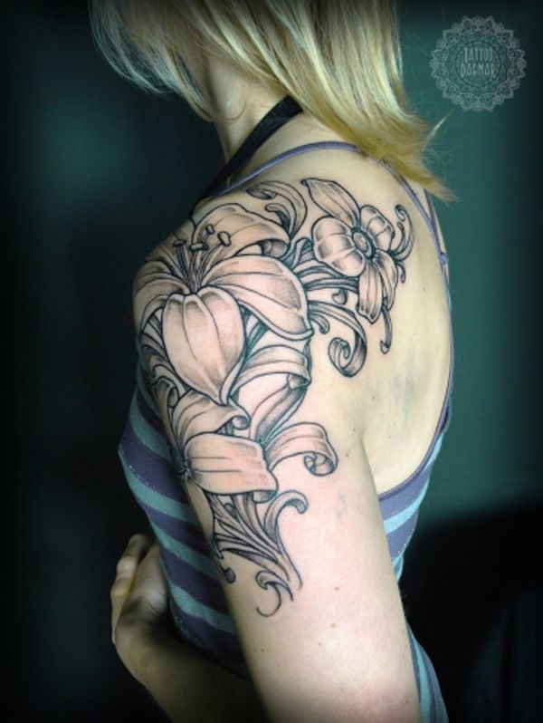 Lily Flower Arm Tattoo Design for Women and Girls. via forcreativejuice.com