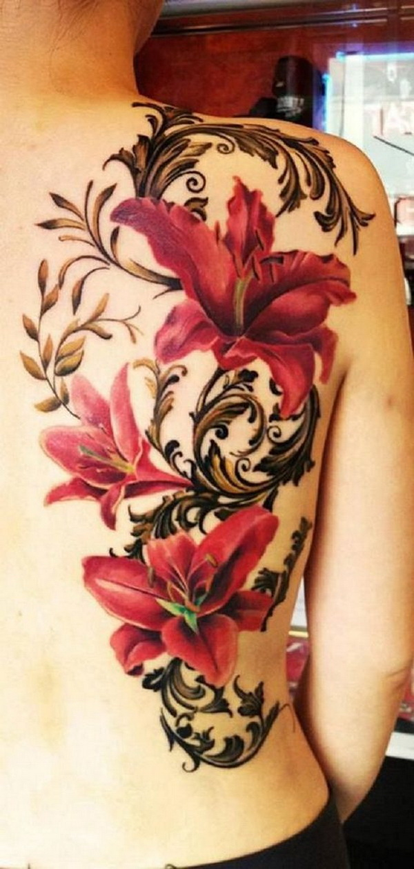 Red Lily Tattoo on Back. via forcreativejuice.com