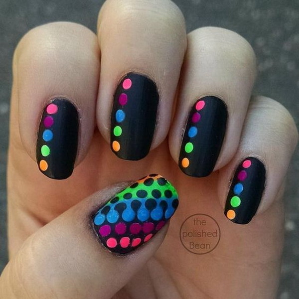 Neon Polka Dots On Black Nail Background. (via forcreativejuice.com)