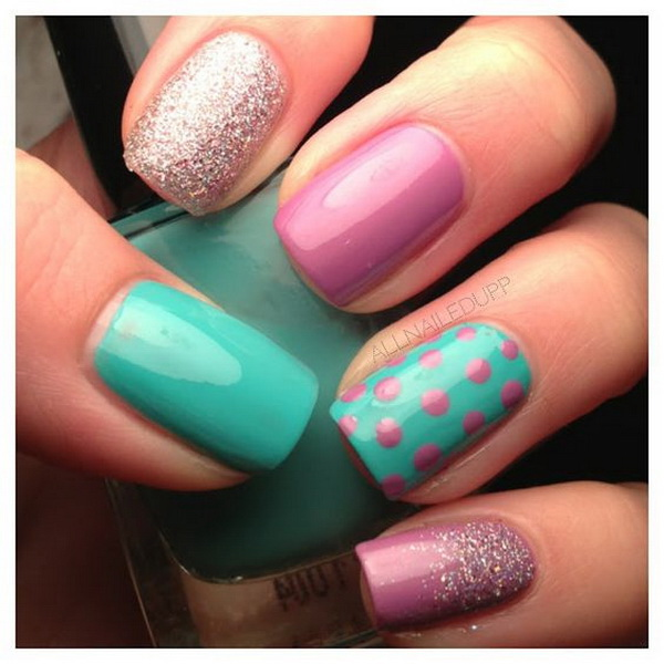 Greenand Purple Polka Dot Nails. (via forcreativejuice.com)