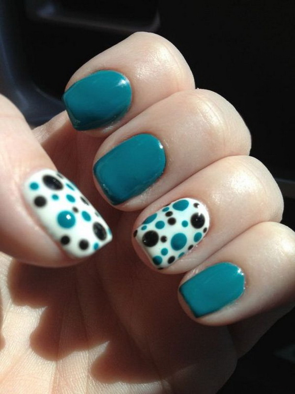 Blue and Black Polka Dots Summer Nail - 40+ Pretty Polka Dots Nail Designs - For Creative Juice