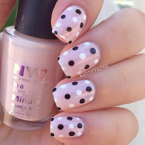 Black and White Polka Dots on Nude Nail Background. (via forcreativejuice.com)