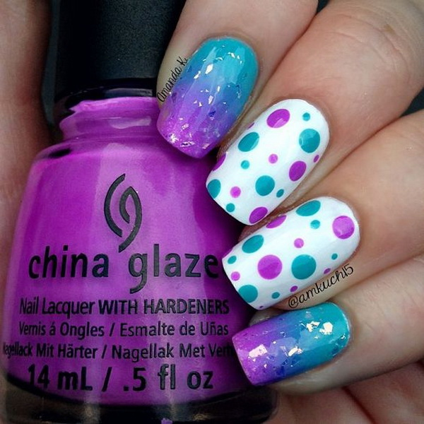 Purple and Blue Polka Dots On White Nail Polish Base. (via forcreativejuice.com)