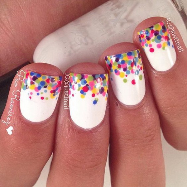 Colorful Polka Dot Tips Nail Design for Short Nails - 40+ Pretty Polka Dots Nail Designs - For Creative Juice