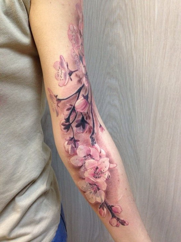 Cherry Blossoms Full Sleeve For Women. www. https://forcreativejuice.com/cool-sleeve-tattoo-designs/