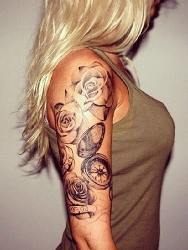 Half Sleeve Rose and Compass Tattoo Design For Girls. www. https://forcreativejuice.com/cool-sleeve-tattoo-designs/