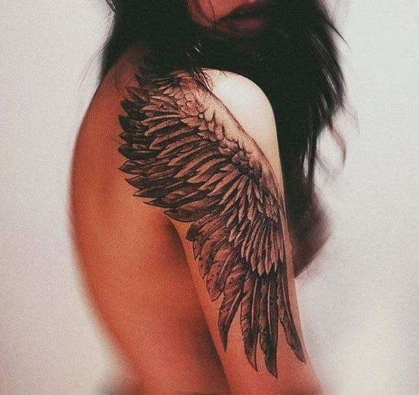 Wing Themed Half Sleeve Tattoo. www. https://forcreativejuice.com/cool-sleeve-tattoo-designs/