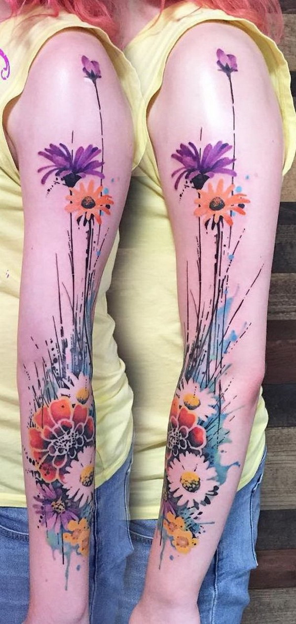 Watercolor Flower Sleeve Tattoo. www. https://forcreativejuice.com/cool-sleeve-tattoo-designs/