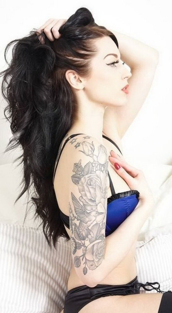 Pretty Floral and Bird Half Sleeve Tattoo. www. https://forcreativejuice.com/cool-sleeve-tattoo-designs/