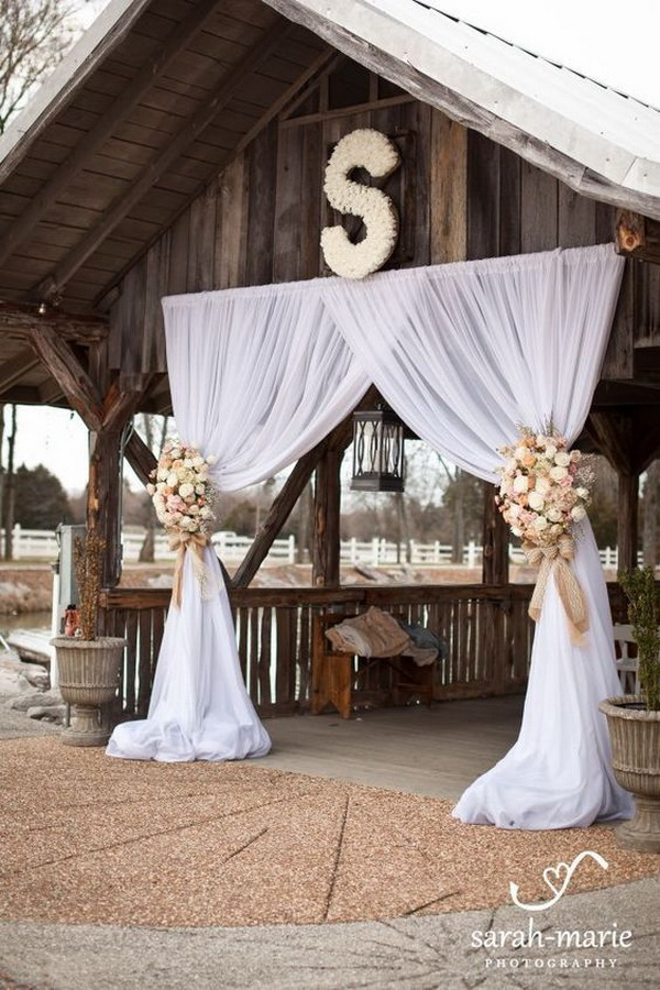 Wedding Arch Idea for a Rustic Wedding. What a beautiful wedding arch decoration idea! Love it!
