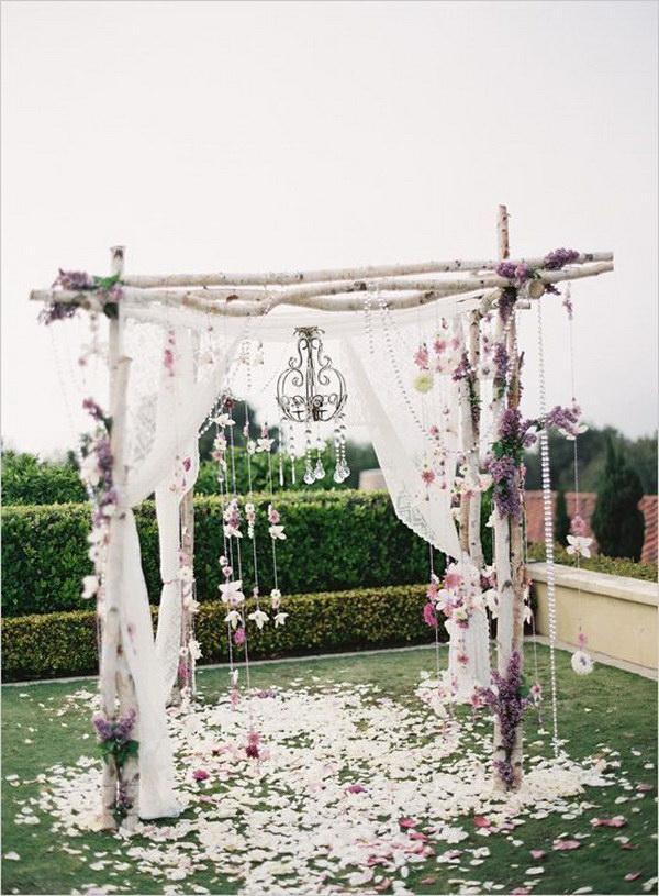 Rustic Birch Tree Wedding Arch. What a beautiful wedding arch decoration idea! Love it & 20 Beautiful Wedding Arch Decoration Ideas - For Creative Juice