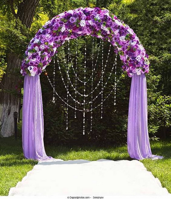 Royal Purple Wedding Arch. What a beautiful wedding arch decoration idea! Love it!