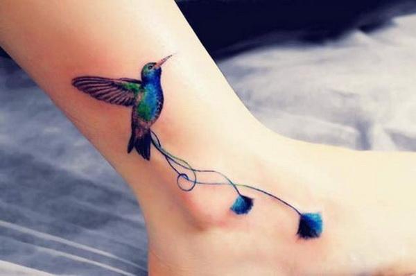 Hummingbird Ankle Tattoo.