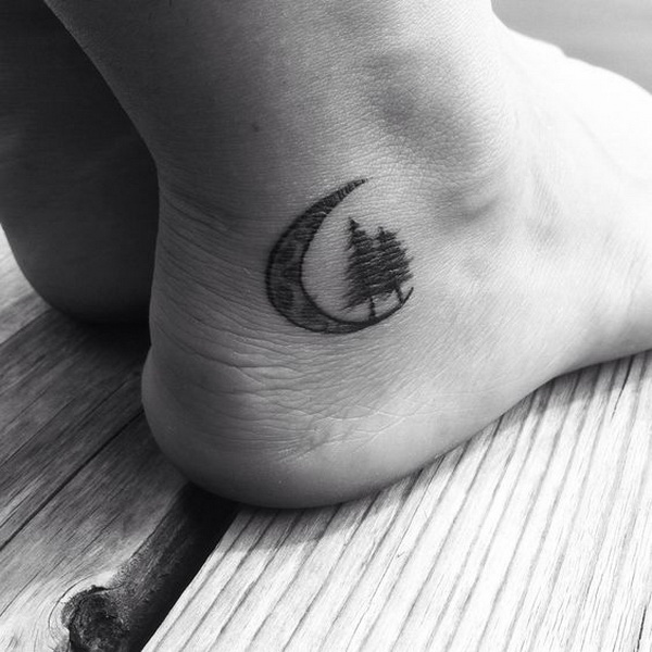 Moon and Pine Tree Ankle Tattoo