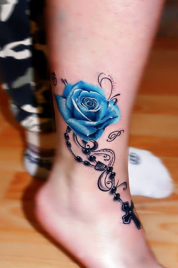 Blue Rose Tattoo on Ankle.