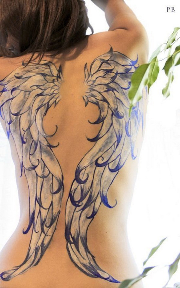 Beautiful Full Back Angel Wings Tattoo.