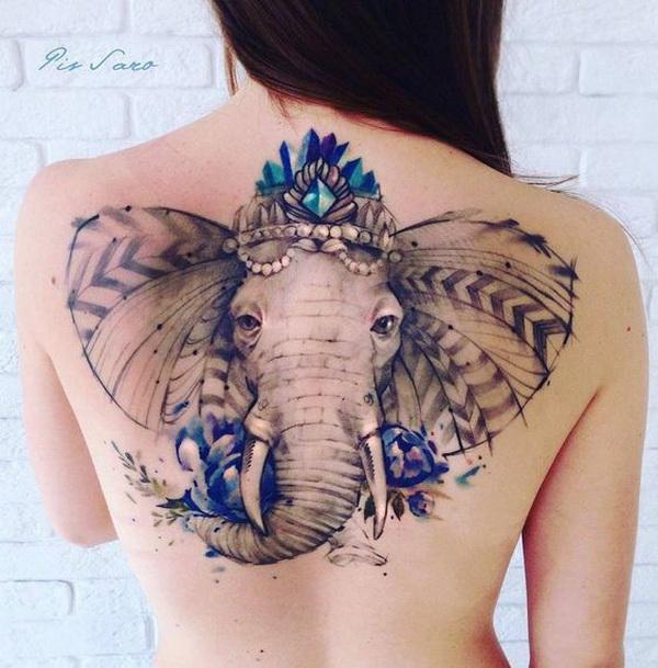 Ornate Elephant Back Tattoo.