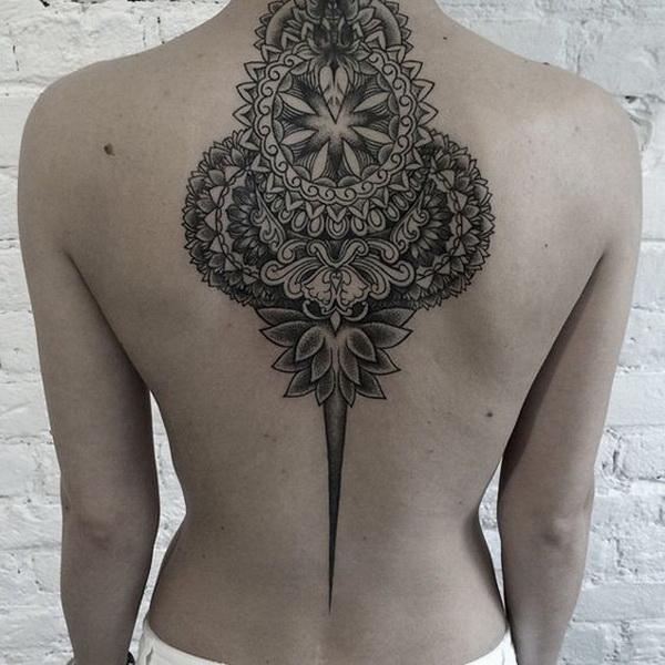 Mandala Back Tattoo for Woman.