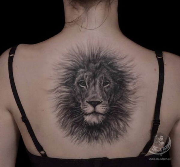 Fluffy Lion Back Tattoo.