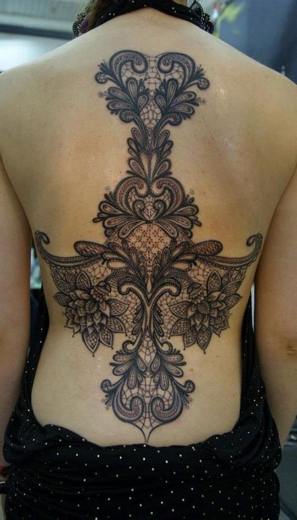 Amazing Lace Back Tattoo.