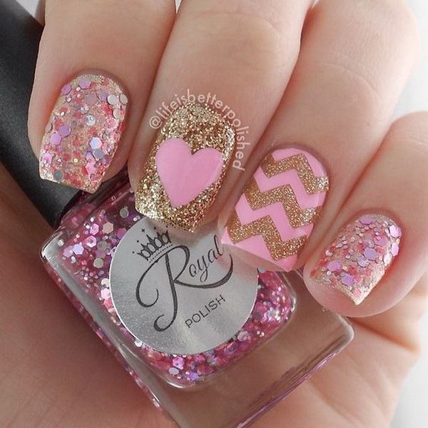 Pink, Gold Glitter Chevron  Nail Art Design with Heart and Sequins for Details.
