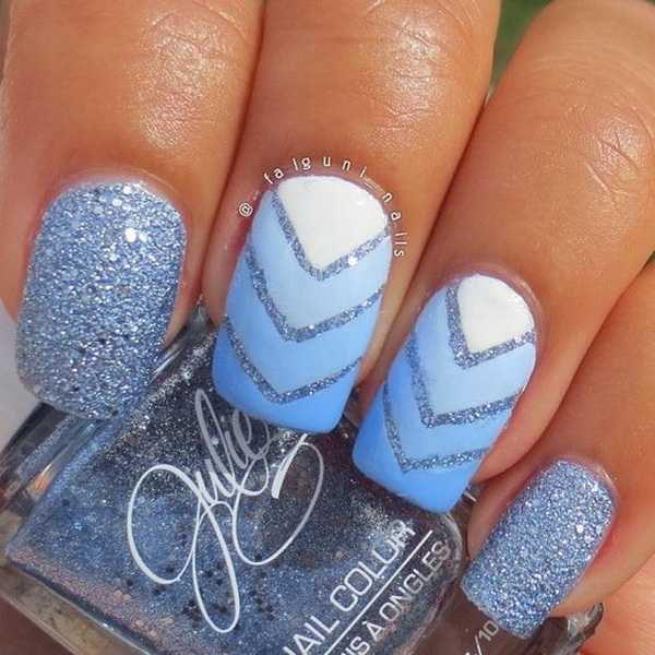Ombre Blue and Chevron Nails Mixed.