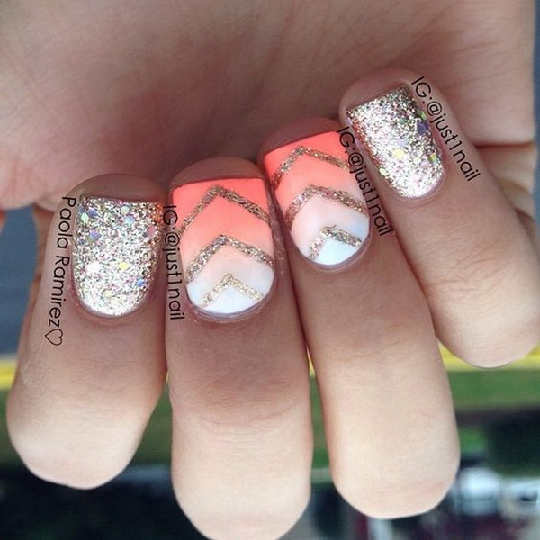 Ombre Coral Nails with Gold Glitter and Chevron Details.