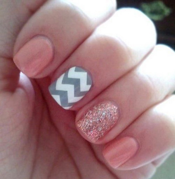 Baby Pink and Gray Chevron Nail Art Design.
