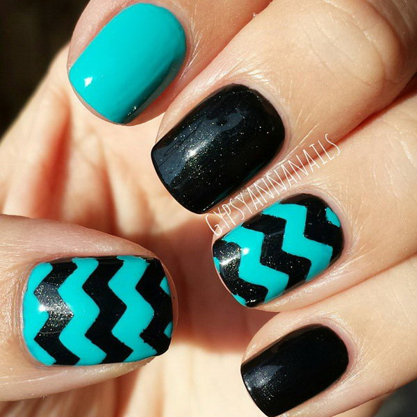 Turquoise and Black Chevron Nails.