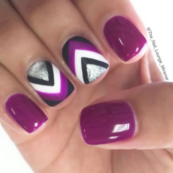 Purple Chevron Nail Art Design.