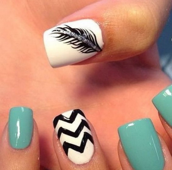 Feather and Chevron Nails.