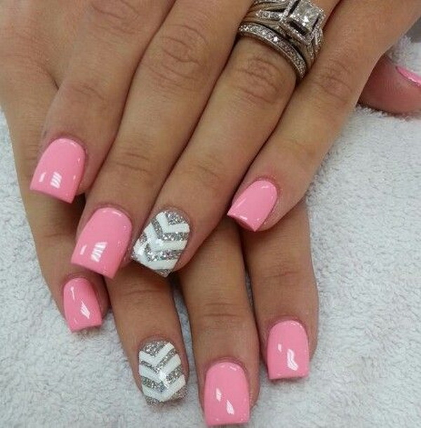Pink & Glittery Chevron Nails.