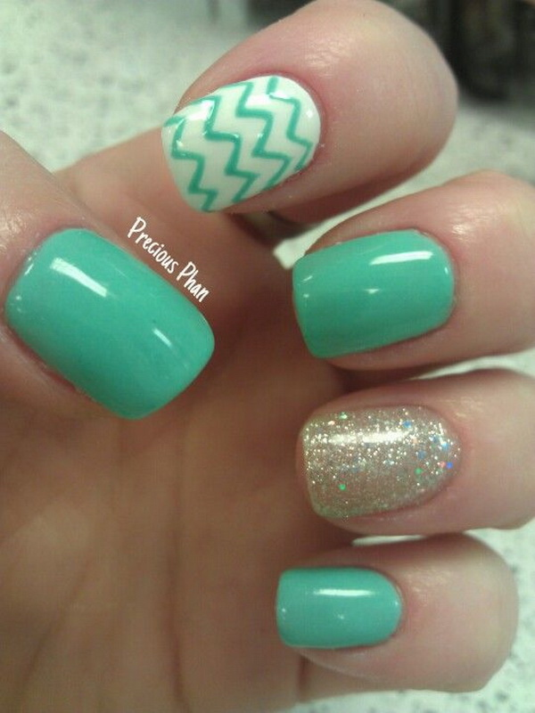 Mint Green, Glitter Chevron Nails.