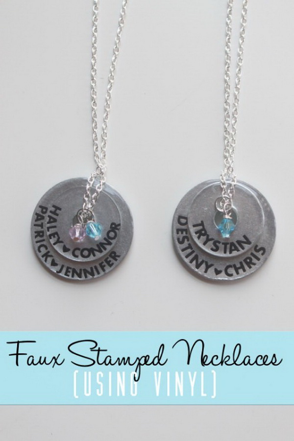 Faux Stamped Mother's Necklace.