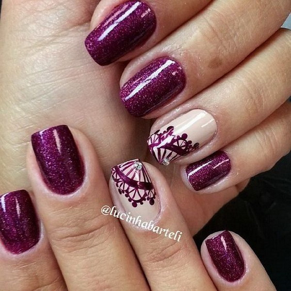 Dark purple nails with lace details. - 20 Romantic Lace Nail Designs - For Creative Juice