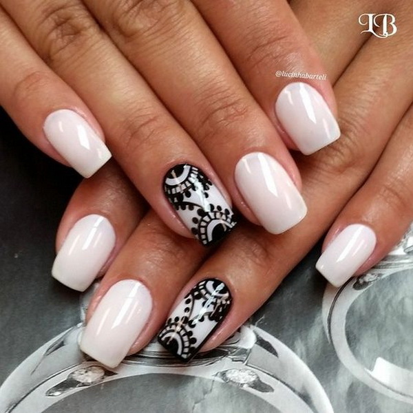 20 romantic lace nail designs for creative juice black lace on nude nail polish prinsesfo Gallery