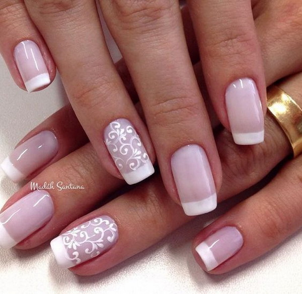 Lace designed white French tips. - 20 Romantic Lace Nail Designs - For Creative Juice