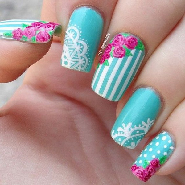 vintage rose and lace nail art. - 20 Romantic Lace Nail Designs - For Creative Juice
